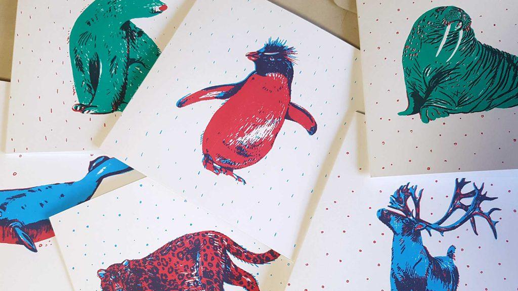 Winter animals cards